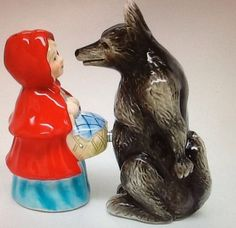Litttle Red Riding Hood and Big Bad Wolf Salt & Pepper Shakers