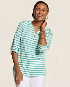 Harbor Stripe Meera Henley Tee from Chico's on Catalog Spree, my personal digital mall.