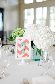 Love the mix of old (ball jars) & new (chevron). Coral + Aqua = ??? haven't made up my mind yet