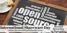 Every year on the second Saturday in December, International Shareware Day seeks to recognize the innovation and dedication of computer programmers. Open Source Programs, National Day Calendar, Open Source Projects, World Days, What Day Is It, How To Make Money, December, Coding, Public