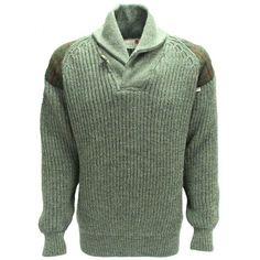 Niffi Ecosse Byreman Chunky Knit Shawl Collar Unisex Sweater with Harris Tweed…