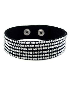 Another great find on #zulily! Black Crystal & Leather Adjustable Bracelet #zulilyfinds