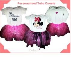 Some BabyK personalised Onesies and matching Tutu's! Cute Little Baby, Little Babies, Tutu, Onesies, Girls, Color, Outfits, Toddler Girls, Colour