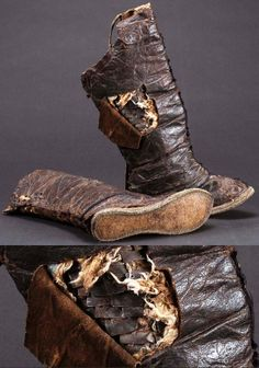 Mongolian armored boots, 15th to 16th c, leather and iron, Mongolia was divided into small khanates (territory ruled by a khan). Khans often went into battle and the need for protective armor was great, warriors going into battle on horseback were protected by metal plates, even in their boots, which were of thin flatly-beaten iron. Iron plates were put between the shaft and the vamp of a boot. The shaft is high, up to above the knee. National Museum of Mongolia.