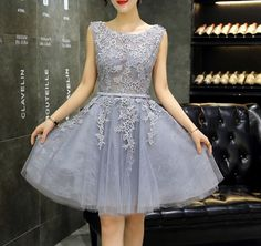 New design gray A-line lace short prom dress,homecoming dress,bridesmaid dress - Thumbnail 1