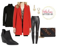 The Fall clothes, they're beautiful! I was at Nordstrom and they have a bunch of new looks for fall. Talk about super exciting and a little overwhelming. Here are a few outfit ideas to help you decide what. How To Wear Leggings, Sweaters And Leggings, Cute Sweaters, Cool Summer Outfits, Winter Outfits, Red Coat Outfit, Summer Coats, Red Blazer, Nordstrom Anniversary Sale