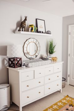 Ikea Dresser modern Nursery Decor styling modern southwestern dresser baby room shelf styling Atlanta photographer interior design