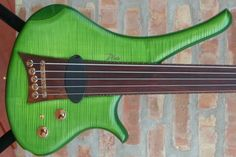Marleaux Diva electric 5 string fretless bass guitar in GREEN