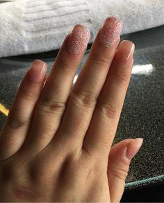 Square nude pink nails with 2 sugar nails