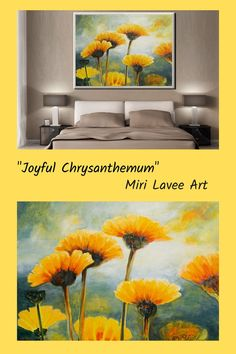 This large flowers wall art will add a fresh vibe to any space. Great art piece for the dining room or living room decor. Spreading light & joy around, it will capture your guests' attention. Artwork by Miri Lavee. #flowerpainting #livingroompainting #livignroomart #artforlivingroom #flowerwallart #largepainting Bedroom Canvas, Bedroom Art, Luxury Bedroom Design, Interior Design, Flower Canvas, Extra Large Wall Art, Living Room Art, Large Flowers, Luxurious Bedrooms