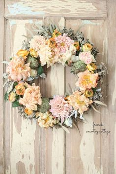 Simple Charm with a French Autumn Inspired Fresh Flower Wreath