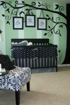 super cute! love the tree, and the mint green with black color scheme