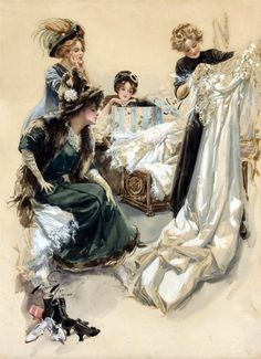 gorgeous sketch of Victorian Edwardian ladies drooling over a wedding dress (by Harrison Fisher)