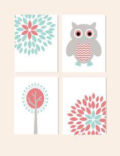 Nursery Wall Decor- Prints for Girls Nursery- Set of 4 Prints- Aqua Coral Gray- Owl, Flower Blossom, Modern Tree- Set of 4 Prints via Etsy