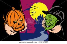 Illustration of halloween masks exchange showing jack-o-lantern pumpkin head and green evil witch with castle in background done in retro style. Free Clipart Images, Royalty Free Clipart, Royalty Free Images, Royalty Free Stock Photos, Halloween Clipart, Halloween Masks, Halloween Pumpkins, Creepy, Witch
