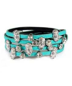 Look at this #zulilyfind! Silver & Turquoise Crystal Owl Wrap Bracelet by MOA International Corp #zulilyfinds