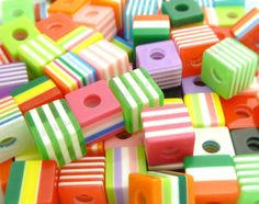100pcs cube green and white striped resin beads 8mm by 1st class
