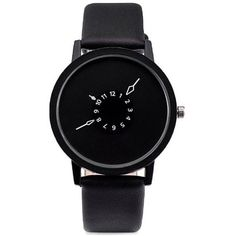 Black Faux Leather Strap Number Round Quartz Watch (255 DOP) ❤ liked on Polyvore featuring jewelry, watches, round watches, quartz wrist watch, quartz watches and quartz jewelry #WristWatches