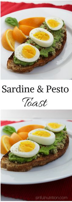 This garlic pesto sardine toast recipe is perfect for fellow sardine haters. A quick and tasty way to get those healthy omega 3's! | @sinfulnutrition