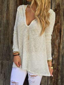 Pull à capuche manches longues -beige