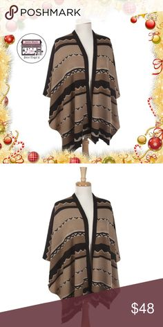 Tribal Pattern Cape DESCRIPTION:  Brown, tan and black tribal pattern cape. 100% acrylic. One size fits most. Janis Marie  Jackets & Coats Capes
