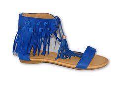 New Women's Flat Shoes Summer Lace Zip Sandals Faux Suede Ankle Straps Blue