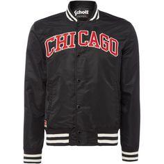 Schott Chicago Varsity Bomber Jacket ($110) ❤ liked on Polyvore featuring men's fashion, men's clothing, men's outerwear, men's jackets, men coats and jackets, mens nylon bomber jacket, mens blouson jacket, mens letterman jacket, mens bomber jacket and mens nylon jacket
