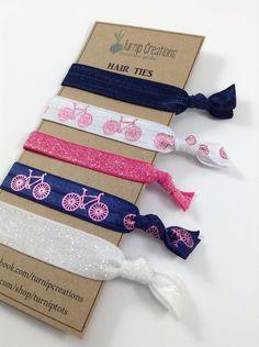 Navy & Pink Hair Ties Bicycle Metallic Pink Hair Ties Bike Navy Pink and White Glitter Hair Ties Pony Tail Holder