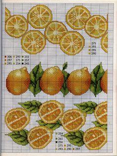 Gráficos de Ponto Cruz: Frutas gráficos de ponto cruz para barrinhas
