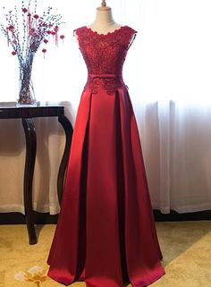 Pretty Burgundy Long A-line Lace Satin Backless Lace Up Prom Dresses – Bohogown Junior Prom Dresses, Prom Dresses For Teens, Trendy Dresses, Nice Dresses, Red Formal Gown, Strapless Dress Formal, Formal Dresses, Red Evening Gowns, Red Gowns