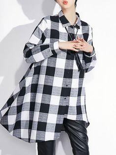 White Long Sleeve V Neck Checkered/Plaid Cotton Tunic