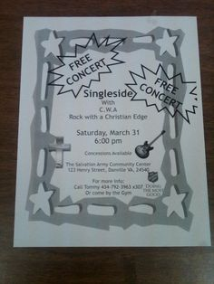 A flyer from a show we did at the Salvation Army church in Danville, VA!