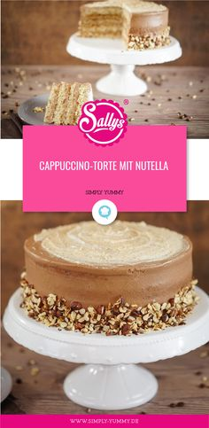 Cappuccino-Torte mit Nutella von Sallys Welt Source by simplyyummyDE German Chocolate Cheesecake, German Chocolate Cake Mix, Coconut Pecan Frosting, Homemade Frosting, Nutella Cookies, Chocolate Chip Cookies, Nutella Cake, Cappuccino Torte, Sully Cake