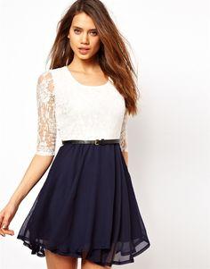 lace sleeve flare dress