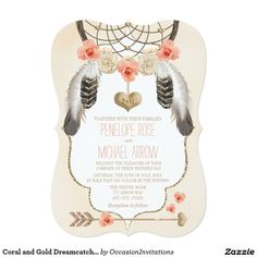 Shop Coral and Gold Dreamcatcher Wedding Invitation created by OccasionInvitations. Heart Wedding Invitations, Baby Shower Invitations For Boys, Custom Invitations, Gold Invitations, Invites, Rose Gold Frame, Coral And Gold, Coral Pink, Boho Baby