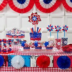 patriotic party, candy buffet, hanging decorations, fourth of july, patriotic desserts