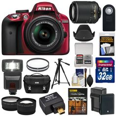 Nikon D3300 Digital SLR Camera & 18-55mm (Red) & 55-200mm VR II Lens + WU-1a Wi-Fi Adapter + 32GB + Case + Battery + Tripod + Flash + 2 Lens Kit. KIT INCLUDES 18 PRODUCTS -- All BRAND NEW Items with all Manufacturer-supplied Accessories + Full USA Warranties:. [1] Nikon D3300 Digital SLR Camera & 18-55mm G VR DX II AF-S Zoom Lens (Red) + [2] Nikon 55-200mm VR II AF-S Lens + [3] Nikon Digital SLR Camera Case + [4] Nikon WU-1a Wireless Adapter +. [5] Nikon School Lighting DVD + [6]…