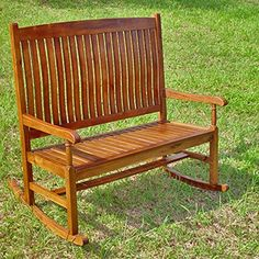 International Caravan Traditional Stained Double Rocking Chair Bench *** For more information, visit image link. (Amazon affiliate link)
