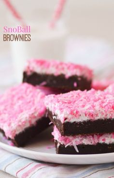 Sno Ball Brownies -- these fudgy brownies taste like a Hostess Sno Ball!