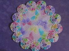 Spring Pink Butterfly Yo Yo Doily with silver by SursyShop on Etsy, $8.00