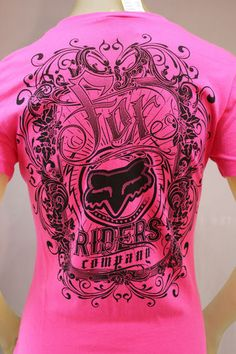 Fox Racing fuchsia pink T-shirt with black grpahic print Country Outfits, Country Girls, Fox Racing Clothing, Fox Rider, Fox Brand, Summer Outfits, Cute Outfits, Fox Girl, Fashion Outfits