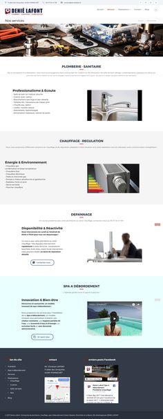 """Création d'un site web pour une entreprise à Saint-Nazaire (44) spécialisée en plomberie, chauffage et spas à débordement. Page """"Services"""" du site DENIE LAFONT."""