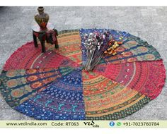 Indian Hippy Mandala Roundie Beach Throw Tapestry Hippie Boho Gypsy Cotton Tablecloth Beach Towel , Yoga Mat , Wall Hanging