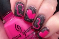 beautiful pink and black nail designs 2017 Nail Designs 2017, Heart Nail Designs, Black Nail Designs, Nail Art Designs, Nails Design, Fancy Nails, Trendy Nails, Love Nails, Diy Nails