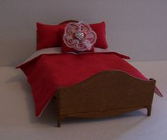 Comforter Set , Dollhouse Miniatures , 1:12 Scale , Handmade , Red Fabric , 3…