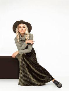 Юбка-плиссе макси прямая из плиссированного бархата высокой посадки на эластичном поясе-резинке 10186 Your Style, Bohemian, Skirts, Vintage, Fashion, Moda, La Mode, Skirt