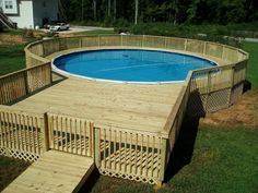 Check out some pictures of customer built decking (full decking) around there above ground pool! Here you can get an idea of what your backyard can become! #trexpooldeckideas