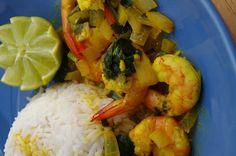 Curry de crevettes au lait de coco et coriandre