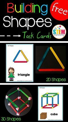 STEM Challenge: Build and Shapes with Craft Sticks, Straws or Pipe Cleaners. Great for a STEM center or Makerspace. Kindergarten Centers, Math Centers, Preschool Activities, 3d Shapes Kindergarten, Teaching Shapes, Math Stations, Teaching Math, Craft Stick Crafts, Craft Sticks