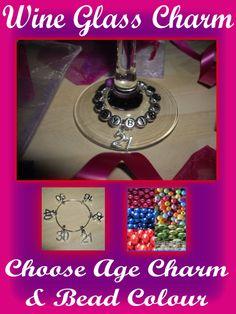 Birthday 16th 18th 21st 30th 40th 50th 60th 65th Personalised Wine Glass Charm
